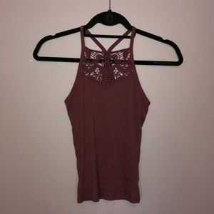 Purple tank with lace top